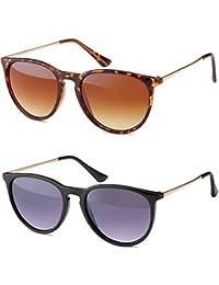 Vintage Sonnenbrille im angesagten 60er Style - Retro Clubmaster Brillen mit Metallbügeln Panto