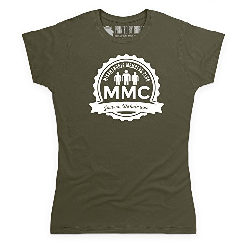 Misanthrope Members Club Light T-Shirt, Damen Olivgrn