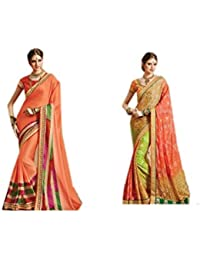 Mantra Fashions Women's Georgette Saree (Mant24_Multi)-Pack of 2
