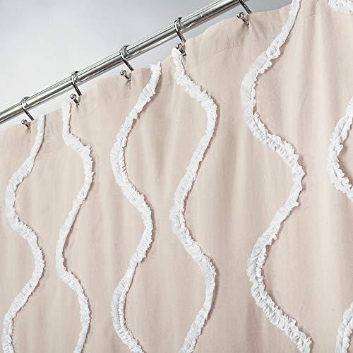 stickten Weiche Baumwolle Stoff Vorhang für die Dusche mit verstärkte Knopflöcher, für Badezimmer Duschen, Stalls und Badewannen, maschinenwaschbar-182,9x 182,9cm beige/weiß ()