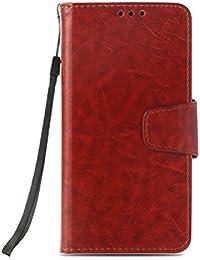 DENDICO Funda Galaxy A3 2015, Flip Cuero Fundas Libro Estilo Carcasa Piel con Tarjeta Ranura y Soporte Plegable, TPU Gel Bumper Magnético Carcasa para Samsung Galaxy A3 2015 - Marrón