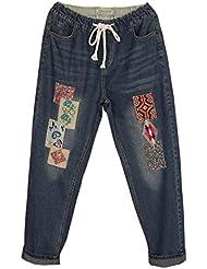 SaiDeng Mujer Retro Baggy Bordado Parche Cintura Elástica Denim Jeans XL
