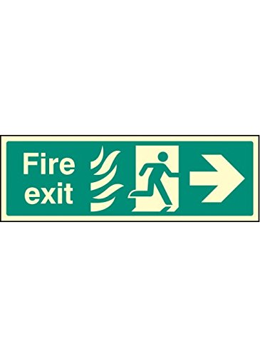 450 mm x 150 mm foto luminiscente rígida Caledonia Signs 32061L SeñalFire Salit Only Caution This Door Is Alarmed