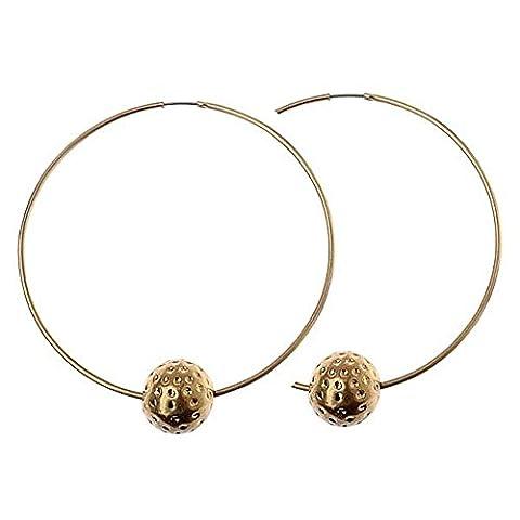 Or Créoles-Boucles d'oreilles perle et texturé