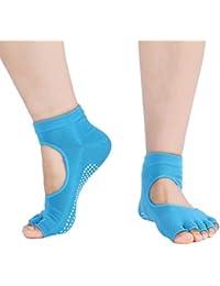 V-SOL Calcetín Yoga Ejercicio Dedo del Pie para Mujer Longitud 22-24.5CM