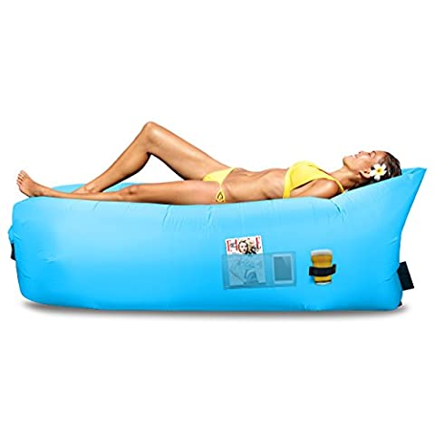 Inflatable Lounge Bag Hammock Air Sofa and Pool Float - Parachute Material - Ideal for Indoor or Outdoor for Camping Hiking - Lazy Bed (Sky Blue)