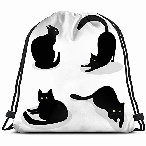 set black cats green eyes different animals wildlife Drawstring Backpack Gym Sack Lightweight Bag Water Resistant Gym Backpack for Women&Men for Sports,Travelling,Hiking,Camping,Shopping Yoga (Halloween Black Cat Clip Art)