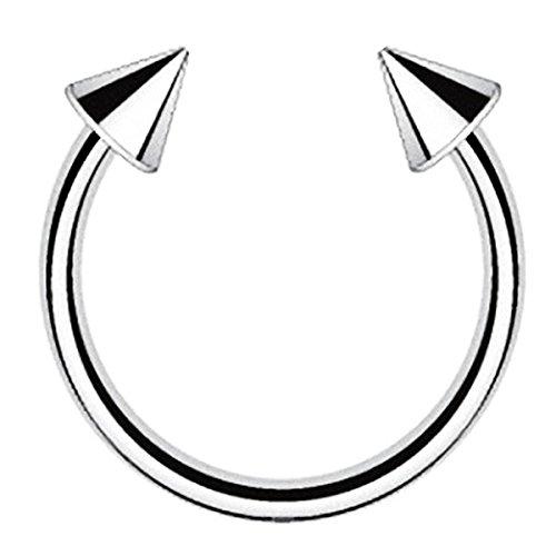 Piersando Piercing Hufeisen Septum Titan G23 mit Spikes Tragus Helix Nase Lippe Ohr Intim Nippel Augenbraue Brust Horseshoe Silber 1,2mm x 10mm x 4mm