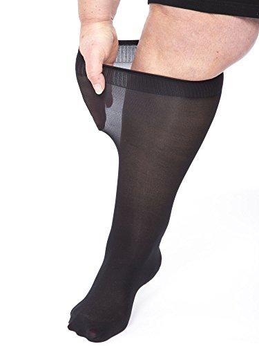 All Woman Extra Wide Knee-highs/Pop Socks Alber's 40 Denier Microfibre (Black UK4/9) PACK OF 5