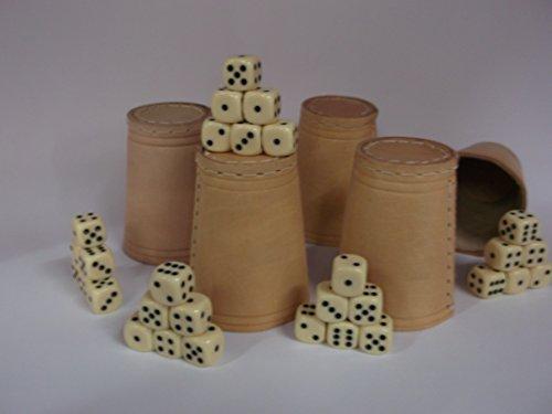 Preisvergleich Produktbild Kaufen-schenken-spielen Bundle 5 Würfelbecher mit jeweils 6 Würfel, Echt Leder, Knobbel - Knobbeln