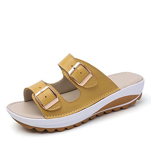 Sandalias Plataformas Mujer Verano Pantuflas Hebilla Cuna Zapatos Playa Cuero de Imitacion Fondo Grueso 4cm Amarillo 39