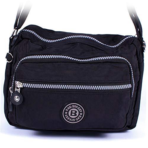 Bolso bandolera pequeño, estilo deportivo, nylon, varios colores, negro