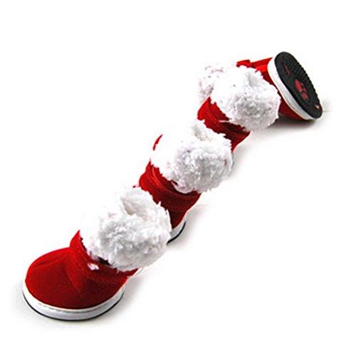 ZUNEA Pet Weihnachtsmann Kostüm Kleine Hund Stiefel für Weihnachten Winter Warme Welpen Katze Schuhe Anti-slip Volltonfarbe Wanderschuhe Rot S