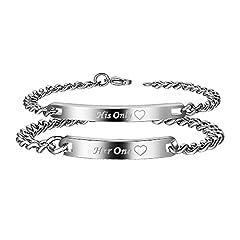 Idea Regalo - Her One His Only Set coppia di braccialetti per Lui e per Lei in Acciaio Inox, 2 pezzi
