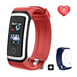 QARFEE Fitness Tracker HR, Colour Screen Activity Tracker Smart Bracelet Watch with Heart Rate Monitor,Waterproof Smart Fitness Band with Step Calorie Counter,Pedometer Watch,Android iOS,Red