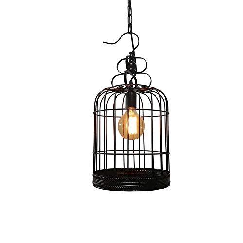 CHQW trade 1-Licht schwarz Vogelkäfig Retro Moderne industrielle hängende Deckenleuchten E27 Edison einstellbar Vintage Eisen Metall Anhänger Beleuchtung for Restaurant Bekleidungsgeschäft Shop Mall