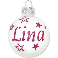 Weihnachtskugel mit Name aus Glas 6cm Wunschtext Weiß Glänzend