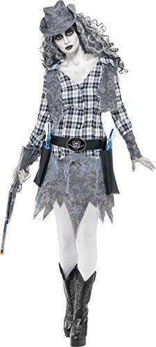 Smiffys, Damen Geister Cowgirl Kostüm, Hut, Weste, Gürtel und Kleid, Größe: S, (Geist S Halloween)