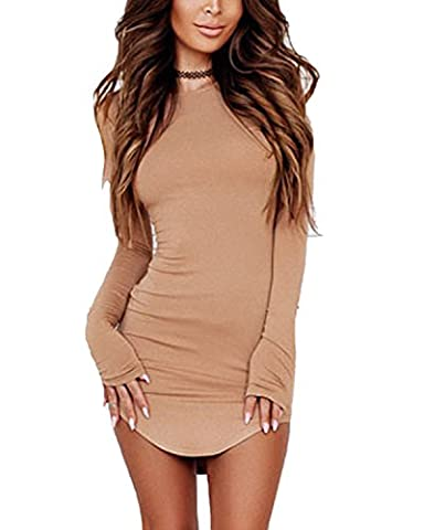 Minetom Femmes L'Ourlet Irreguliere Slim Mini Robe Sexy Col Rond Manches Longues Casual Parti Bodycon Chemisier Kaki FR 34