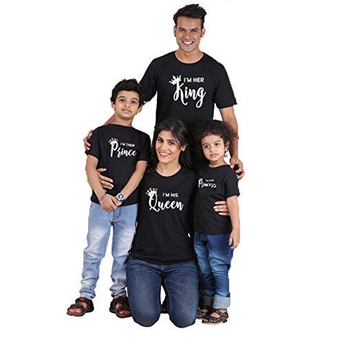 rzarm König Prince gedruckt Outfits Eltern-Kind Kleidung, Papa Mama Kinder Spiel T-Shirts Familie Kleidung Sets Black Girls 5-6T ()