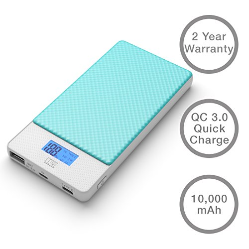 LCARE QC 3.0 Quick Charge Power Bank 10000mAh (Blue) with Type C support