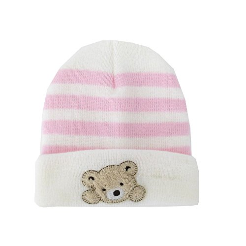 NEU | Baby Mädchen Strick Mütze weiß rosa Streifen Teddy | 56 62 68 3-6 Monate (62/68)