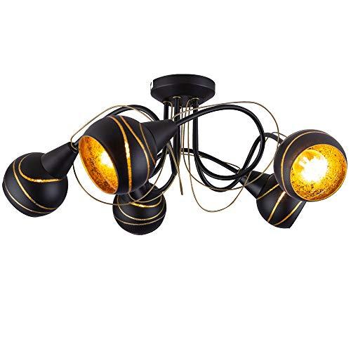 Design Decken Lampe Wohn Zimmer Glas Kugel Strahler blatt gold schwarz im Set inkl. LED Leuchtmittel (Gold Schwarz Und Gläser)