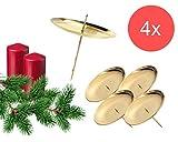 TK Gruppe Timo Klingler 4X Kerzenhalter Kerzenteller Adventskranzstecker 6 cm Kerzenstecker für Adventskranz Weihnachten Adventskranzhalter mit Dorn ((4X Gold)