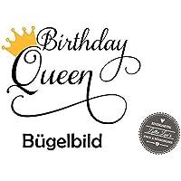 Bügelbild Geburtstag Birthday Queen Krone in Flex, Glitzer, Flock, Effekt in Wunschgröße