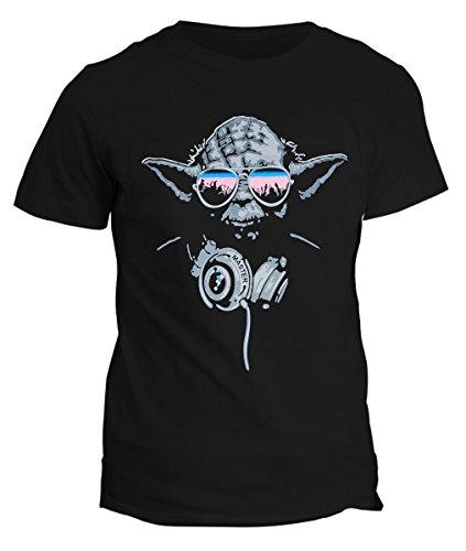 Fashwork - Camiseta DJ Jedi Yoda -Camiseta de Star Wars- Camiseta de Darth Vader, Star Wars negro Mujer-L