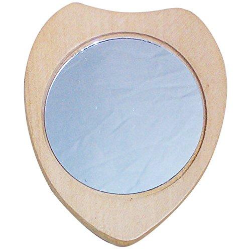 Leisial 5 Stück Spiegel Herz Holz Mini Kosmetikspiegel Taschenspiegel Retro-Stil Holz-Spiegel...
