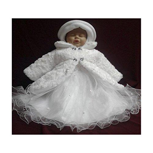 Alice SET Wintermantel Kleid Hut Mütze Hose Mantel Taufe Baby Taufmantel Taufkleid weiß, 68