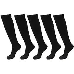 5pares calcetines rodilla alta calcetines de compresión graduada para hombres y mujeres, mejor para Correr, médico, Athletic, edemas, diabetes, varices, viajes, embarazo, espinillas, enfermería, uso diario, hombre, negro, L/XL