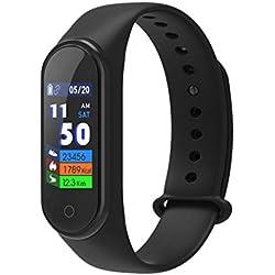Pulsera inteligente con rastreador de actividad física, monitor de ritmo cardíaco con Bluetooth M4, podómetro, pulsera inteligente deportiva, pulsera para niños, mujeres y hombres negro