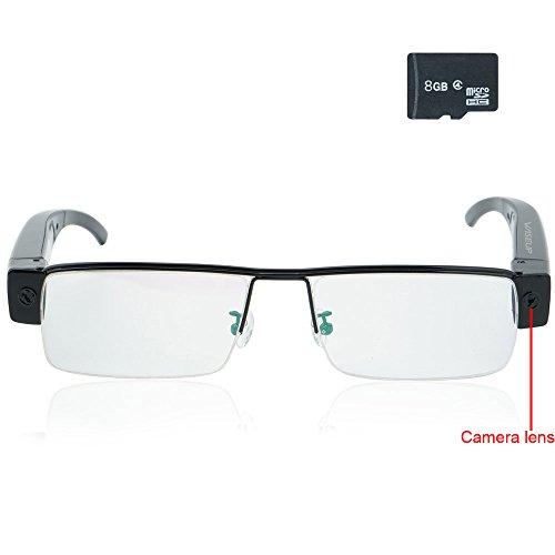 WISEUP 8GB 1920x1080P Indossabile Telecamera Spia Bicchieri Mini DV Videocamera Supporto di Registrazione Audio