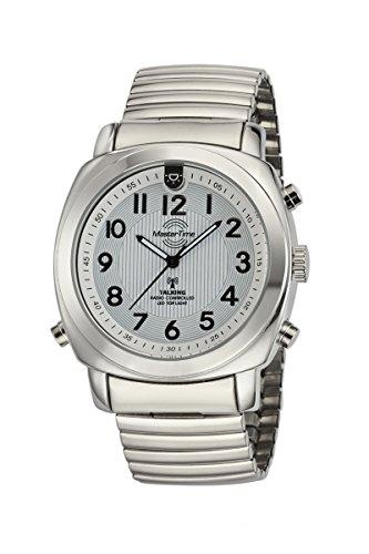 Master Time Sprechende Funk Herrenuhr Deutsch mit Beleuchtung und Zugband MTGA-10633-11M, Edelstahl-Zugband Armbanduhr