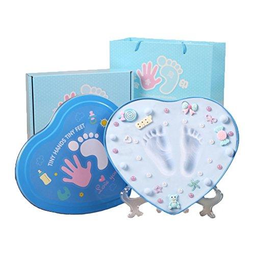 Kit de Huellas de Manos y Pies Bebé 3D - Inolvidable Recuerdo Para Padres de Recién Nacido con Arcilla no Tóxica Pintura y Lindos Adornos - El Set de Regalo Perfecto para Fiestas Baby Shower (Heart)