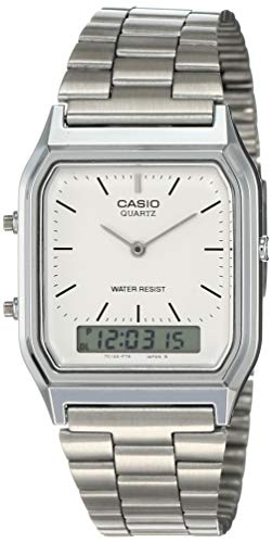 Casio Collection Herren Analog/Digital Quarz mit Edelstahlarmband - AQ-230A-7BMQYES, Silber (Zifferblatt: Weiß)