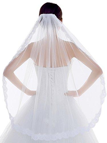Edith qi 1 capa encaje borde de tul velo de novia de la boda con el peine