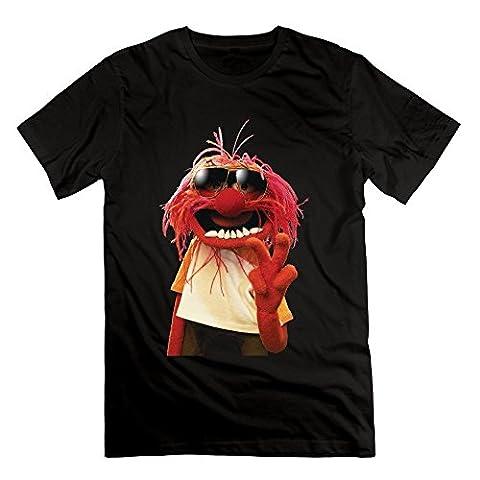 Desolate Men's Love Muppets Jumbo Animal Cartoon Logo T-shirt -White