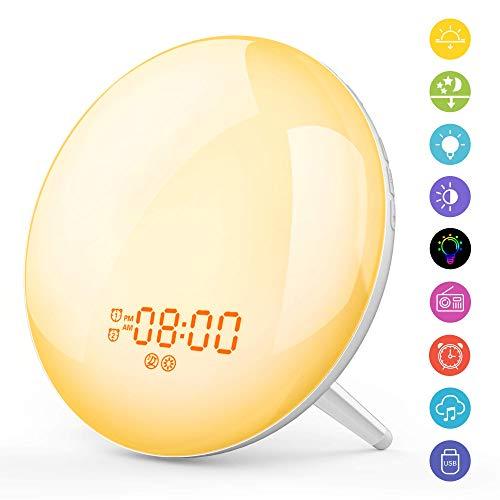 [Upgraded] Wake Up Light Lichtwecker Radio Wecker LED Nachtlicht Kinder mit Sonnenaufgang Sonnenuntergang Simulation/2 Alarme/Snooze/Schlafhilfe/7 Wecktöne/FM Radio/20Helligkeit/16Volumen Einstellbar