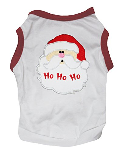 Petitebelle Pet Supply Xmas Santa HoHoHo Red White T-Shirt Novelty Dog Dress (X-Small) (Santa Dog Tank)