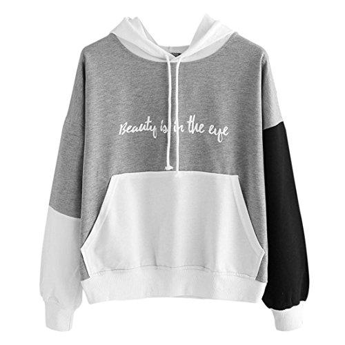 Damen Pullover Btruely Frauen Herbst Schlagfarbe Hoodie Sweatshirt Langarm Bluse Causal Tops (Grau, XXL)