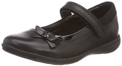 Clarks Venture Star, Ballerine con Cinturino alla Caviglia Bambina, Nero (Black Leather-), 32 EU
