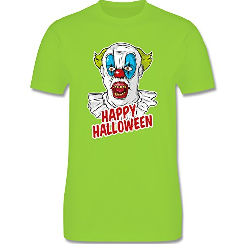 Shirtracer Halloween - Happy Halloween - Clown - Herren T-Shirt Rundhals Hellgrün