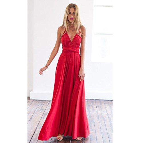 M-Queen Elégant Femme Robe de Soirée Longue Robe Col V Haute Taille Maxi Robe Pour Cocktail Party Mariage Soirée Multi Wearing Rouge