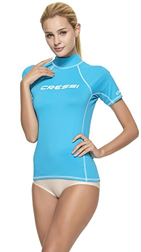 Cressi Damen Rash Guard Kurzarm, UV-Schutz UPF 50+, Aquamarin, L/4 (42)