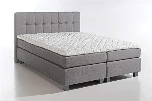Furniture for Friends Möbelfreude® Boxspringbett Venezia Hellgrau 180x200 cm H3 mit Füßen inkl. Visco-Topper, 7-Zonen Taschenfederkern-Matratze