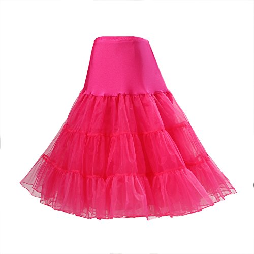 BOOLAVARD® 50er Jahre Petticoat Vintage Retro Reifrock Petticoat Unterrock für Wedding bridal Petticoat Rockabilly Kleid in mehreren Farben (L-XXL, Dunkel Rosa) (Voile-kleid Rosa)