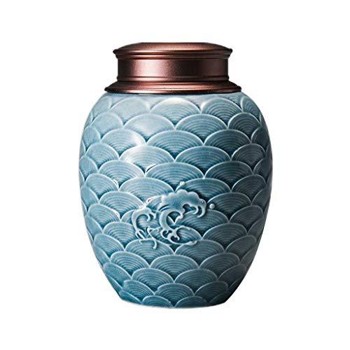 Boîtes à thé AUGAUST en céramique Couverture en Alliage à Motif ondulé Multi-Fonction scellée Peut Stocker du thé de Bonbon Grossier (Couleur : B, Taille : 11 * 15cm)